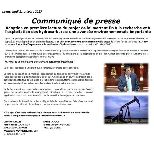 CP Vote projet de loi hydrocarbures